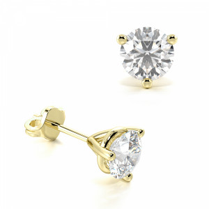 Round 2.00 I1 D-E ABELINI 9K Yellow Gold 3 Claw Round Diamond Gold Diamond Stud Earring