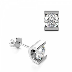 Channel Set Tension Round Diamond Stud Earrings