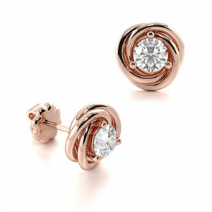 Round 1.20 SI F-G ABELINI 9K Rose Gold Prong Setting Tri Colour Round Diamond Stud Earrings