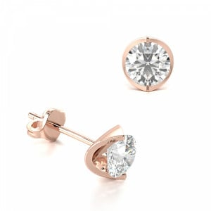 Round 0.60 SI F-G ABELINI 18K Rose Gold Channel Set Tension Round Diamond Stud Earrings