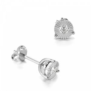 Round 0.20 I1 H-I ABELINI 9K White Gold 3 Prong Illusion Set Round Diamond Stud Earrings