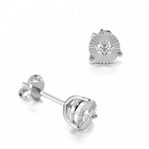 3 Prong Illusion Set Round Diamond Stud Earrings
