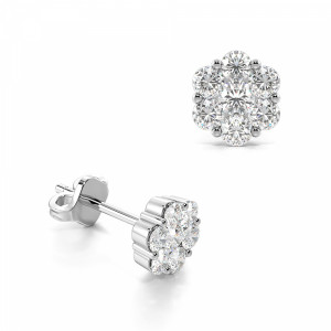 Pave Set Diamond Cluster Stud Earrings For Women (in 4.5mm, 5.3mm & 6.5mm)