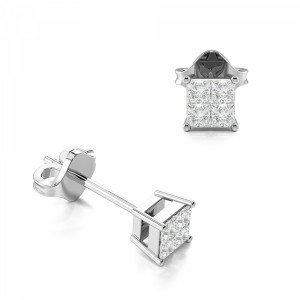 Invisible Setting Princess Diamond Stud Earrings (4.0mm)