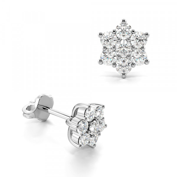Prong Setting Flower Cluster Diamond Earrings (Available in 0.35 to 0.75Ct Options)