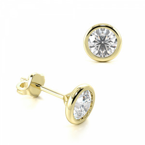 Round 2.00 I1 H-I ABELINI 18K Yellow Gold Bezel Setting Round Diamond Stud Earrings