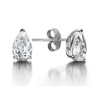 Pear Shape Tear Drop Platinum & Gold Diamond Stud Earrings
