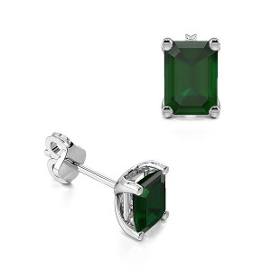 Rectangular Shape Emerald Gemstone Stud Earrings