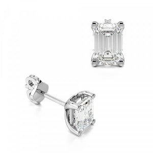 Emerald Shape Lab Grown Diamond Stud Earrings