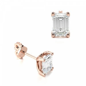 Single Emerald Diamond Stud Earring Rose / White Gold & Platinum