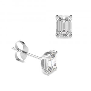 Emerald Diamond Stud Earring Rose / White Gold & Platinum