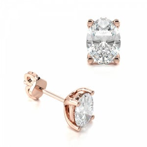 Oval Shape Platinum & Gold Diamond Stud Earrings