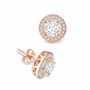 Round 1.00 VVS H-I ABELINI 9K Rose Gold Round Shape Diamond Halo Earrings Available in Gold and Platinum