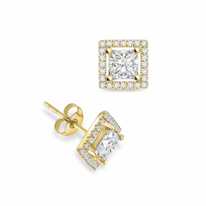 Princess Shape Diamond Halo Earrings Available in Rose, Yellow & White Gold