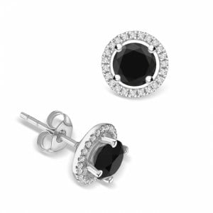 Round Diamond Halo Black Diamond earrings