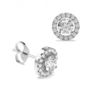 Round Brilliant Classic Style Diamond Halo Earrings