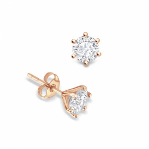 Round 1.40 SI F-G ABELINI 9K Rose Gold 6 Open Prongs Round Shape Stud Diamond Earrings