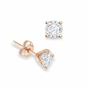 Round 1.40 SI H-I ABELINI 18K Rose Gold 4 Open Prong Round Brilliant Stud Diamond Earrings Available in Rose, Yellow, White Gold and Platinum
