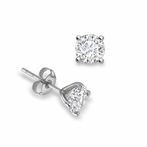 Round 0.50 VVS D-E ABELINI 18K White Gold 4 Open Prong Round Brilliant Stud Diamond Earrings Available in Rose, Yellow, White Gold and Platinum