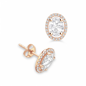 Oval 1.20 VVS D-E ABELINI 9K Rose Gold Classic Style Oval Shape Stud Diamond Halo Earrings