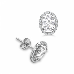 Oval 1.20 VVS D-E ABELINI 9K White Gold Classic Style Oval Shape Stud Diamond Halo Earrings
