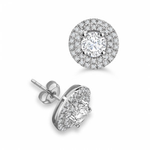 Round Two Raw Circlet Stud Diamond Halo Earrings