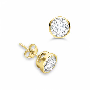 Round 1.50 VVS H-I ABELINI 18K Yellow Gold Small Diamond Stud Earring White Gold and Platinum
