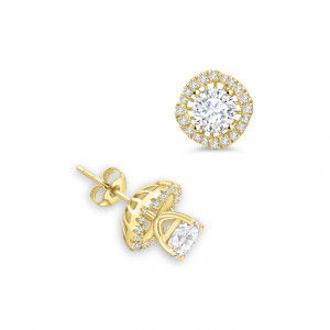 Round 1.80 I1 D-E ABELINI 18K Yellow Gold Round Jacket & Stud Diamond Halo Earrings Rose, Yellow, White Gold and Platinum