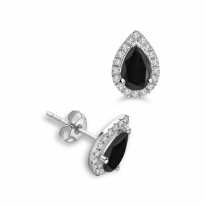 Pear Shape Tear Drop Stud Halo Black Diamond earrings