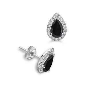 4643db537 Pear Shape Tear Drop Stud Halo Black Diamond earrings