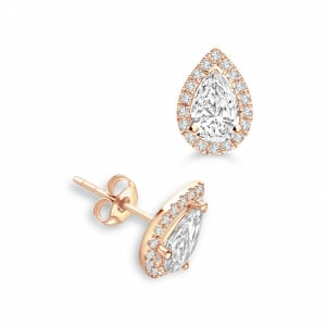 Pear 1.20 I1 F-G ABELINI 18K Rose Gold Pear Shape Tear Drop Halo Stud Diamond Earrings