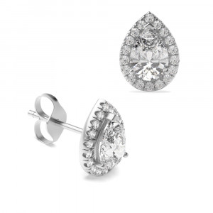 Pear 2.00 I1 H-I ABELINI 950 Platinum Pear Shape Tear Drop Halo Stud Diamond Earrings