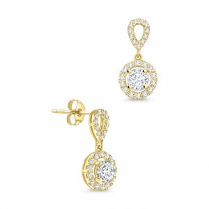 Round 0.30 VS F-G ABELINI 9K Yellow Gold Round Shape Dangling Halo Stud Diamond Earrings Available in White, Yellow, Rose Gold and Platinum