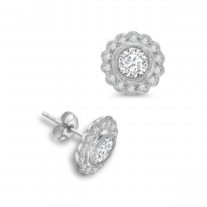 Round Shape Flower Style Designer Diamond Earrings Available in White, Yellow, Rose Gold and Platinum