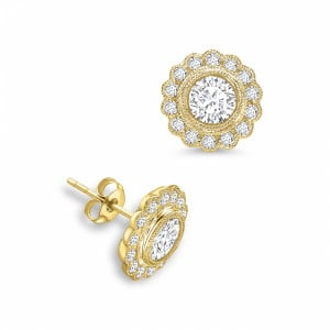 Round 0.80 VS H-I ABELINI 18K Yellow Gold Round Shape Flower Style Designer Diamond Earrings Available in White, Yellow, Rose Gold and Platinum