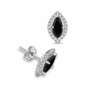 Marquise Diamond Halo Black Diamond earrings