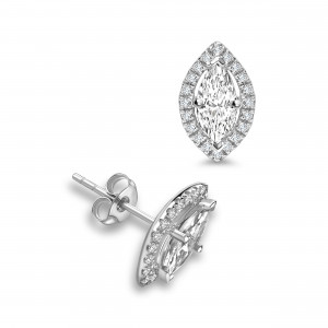 Marquise Shape Diamond Halo Diamond Earrings Available in White, Yellow, Rose Gold and Platinum