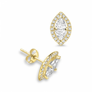 Marquise 0.80 VVS D-E ABELINI 18K Yellow Gold Marquise Shape Diamond Halo Diamond Earrings Available in White, Yellow, Rose Gold and Platinum