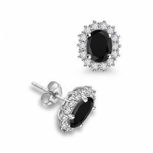 Prong Setting Oval Shape Halo Black Diamond earrings