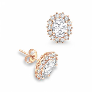 Oval 0.50 SI H-I ABELINI 18K Rose Gold Prong Setting Oval Shape Halo Diamond Earrings Available in White, Yellow, Rose Gold and Platinum