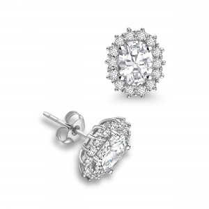 Oval 1.20 VS F-G ABELINI 18K White Gold Prong Setting Oval Shape Halo Diamond Earrings Available in White, Yellow, Rose Gold and Platinum