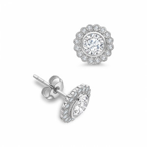 Round 1.60 SI D-E ABELINI 18K White Gold Round Shape Milligrain Halo Diamond Earrings Available in White, Yellow, Rose Gold and Platinum