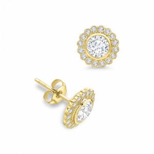 Round 1.60 SI D-E ABELINI 18K Yellow Gold Round Shape Milligrain Halo Diamond Earrings Available in White, Yellow, Rose Gold and Platinum