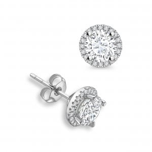 Round 1.40 SI H-I ABELINI 18K White Gold Round Diamond Halo Diamond Earrings Available in Rose, Yellow, White Gold and Platinum