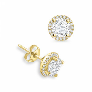 Round 1.60 I1 H-I ABELINI 18K Yellow Gold Round Diamond Halo Diamond Earrings Available in Rose, Yellow, White Gold and Platinum