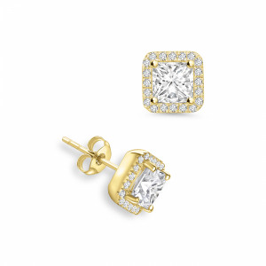 Princess 1.20 SI F-G ABELINI 9K Yellow Gold Princess Shape Square Diamond Halo Diamond Earrings Available in Rose, Yellow, White Gold and Platinum