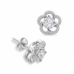 Round Jacket & Stud Halo Diamond Earrings Rose, Yellow, White Gold and Platinum