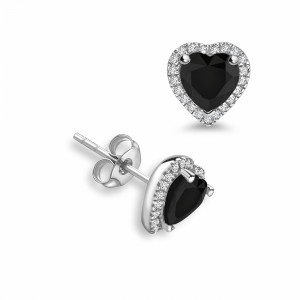 Heart 2.00 Black ABELINI 18K Yellow Gold Heart Shape Diamond Halo Black Diamond earrings