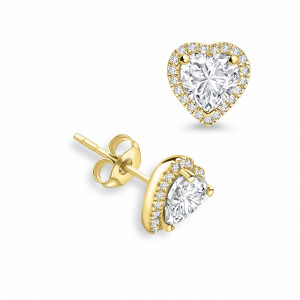 Heart Shape Diamond Halo Diamond Earrings Available in Rose, White, Yellow Gold and Platinum