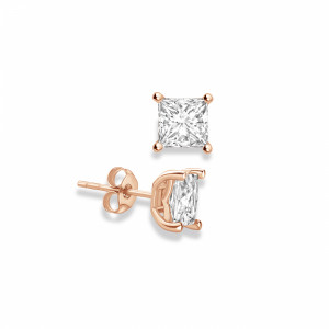 Princess 1.40 VVS D-E ABELINI 9K Rose Gold Princess Shape Stud Diamond Earrings Rose, Yellow, White Gold and Platinum
